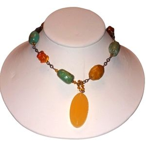 Silpada Amber, Jasper and turquoise Necklace
